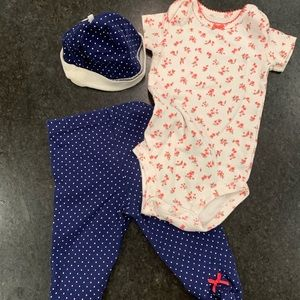 Polka dot footie with onesie and hat